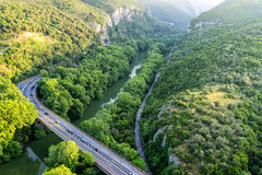 Aerial view of the bridge and the road over the river Pinios  Stock Photography