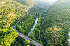 Aerial view of the bridge and the road over the river Pinios  Royalty Free Stock Images