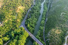 Aerial view of the bridge and the road over the river Pinios  Stock Photos