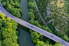 Aerial view of the bridge and the road over the river Pinios Royalty Free Stock Photography