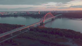 Aerial view of bridge on russian river at sunset stock video footage