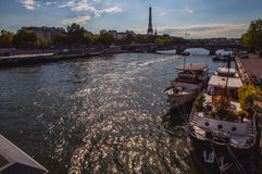 Aerial view from bridge on Siena to Eiffel tower in Paris against twilight sky at evening summer time. Paris - August. Stock Images