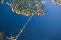 Aerial view of bridge south of Acadia National Park, Maine Royalty Free Stock Images