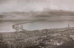 Aerial view of the bridge Vasco da Gama. Royalty Free Stock Image