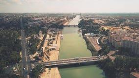 Aerial view of bridges over the Guadalquivir river in Seville, Spain. Aerial view of bridges over the Guadalquivir river in Seville stock images