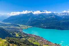Aerial view of Brienzer lake and the Brienz city Royalty Free Stock Photo