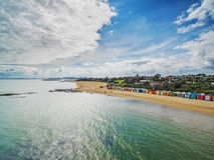 Aerial view of Brighton Beach bathing huts Royalty Free Stock Photos