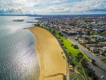 Aerial view of Brighton Beach and Melbourne CBD in the distance stock image