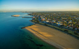 Aerial view of Brighton beach and suburb at sunrise. Melbourne, stock image