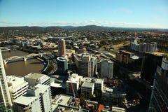 Aerial view Brisbane City and William Jolly Bridge stock images