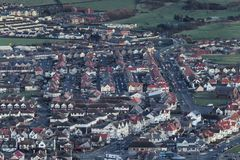 Aerial View of British Coastal Town stock images