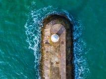 The breakwater at Brixham, Devon, UK. An aerial view of the Brixham breakwater in Devon, United Kingdom stock photo