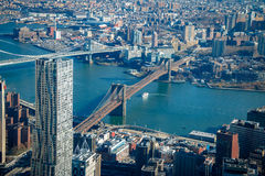 Aerial view of Brooklyn Bridge and Manhattan Bridge - New York, USA Royalty Free Stock Photo