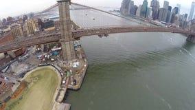 Aerial view of Brooklyn Bridge stock video footage