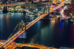 Aerial view of Brooklyn Bridge Stock Photo