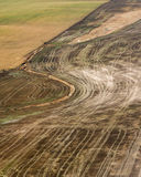 Aerial view of brown cropland recently harvested Stock Photo