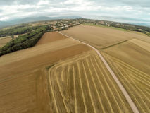 Aerial view brown fields Royalty Free Stock Photos