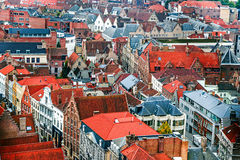 Aerial view of Bruges from Belfry, Belgium Royalty Free Stock Image