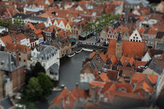 Aerial view on Bruges' canal from high tower. Stock Image