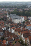 Aerial view of Bruges rooftops and buildings. And the Kempinski Dukes' Palace hotel Stock Image