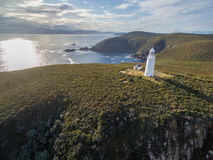 Aerial view of Bruny Island Lighthouse at sunset. Tasmania. Stock Image