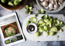 Aerial view of Brussels sprouts with digital tablet Stock Image