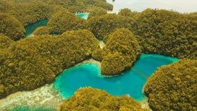 Aerial view tropical lagoon,sea, beach.Bucas Grande Island, Sohoton Cove. Philippines. stock video