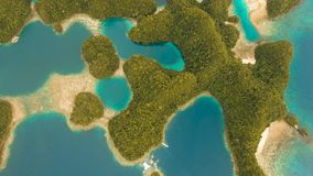 Aerial view tropical lagoon,sea, beach. Bucas Grande Island, Sohoton Cove. Philippines. stock video