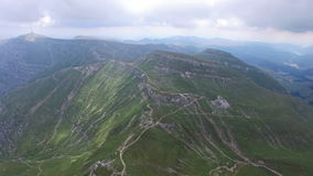 Aerial view of Bucegi mountains and trails, Romania. Hd video stock footage