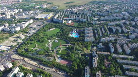 Aerial view of Bucharest city, Moghioros park, Romania stock footage