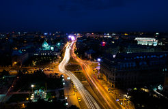 Aerial view of Bucharest city by night. Bucharest city night traffic on University Square Royalty Free Stock Image