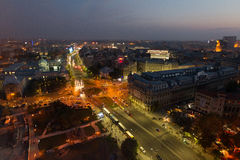 Aerial view at Bucharest - by night. Mayor Oprescu said Tuesday after visiting the site of Pipera passage, that in a few days will be open to traffic, currently Stock Photo