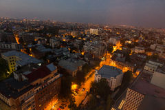 Aerial view at Bucharest - by night. Mayor Oprescu said Tuesday after visiting the site of Pipera passage, that in a few days will be open to traffic, currently Royalty Free Stock Photo