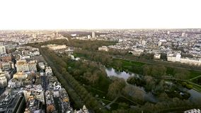 Aerial View of Buckingham Palace and St James Park in City of London 4K. Aerial View of Buckingham Palace and St James Park in City of London, England UK Stock Photos
