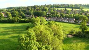 Aerial view of Buckinghamshire Landscape stock footage