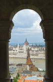 Aerial view on Budapest city, Hungary. An aerial view on Budapest city, Hungary with arc architecture Royalty Free Stock Photos
