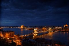 Aerial view of Budapest with Danube Royalty Free Stock Photo