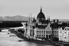 Aerial view of Budapest, Hungary at sunset. Budapest, Hungary. Aerial view of Budapest, Hungary at sunset. Parliament building with Danube river. Black and white Royalty Free Stock Photo