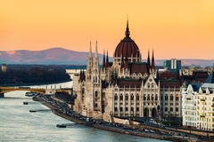 Aerial view of Budapest, Hungary at sunset. Budapest, Hungary. Aerial view of Budapest, Hungary at sunset. Parliament building with Danube river Stock Photos