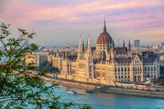 Aerial view of Budapest parliament andt the Danube river at sunset Hungary. Aerial view of Budapest parliament andt the Danube river at sunset, Hungary stock images