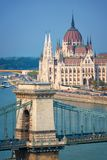 Aerial view of Budapest parliament and Chain bridge over Danube river Hungary. Aerial view of Budapest parliament and Chain bridge over Danube river, Hungary royalty free stock photo
