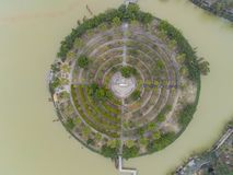Aerial view of a Buddha circle around Seven-star Crags Scenic Area. At Zhaoqing, China royalty free stock photos