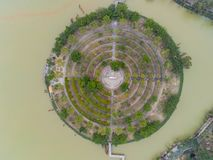 Aerial view of a Buddha circle around Seven-star Crags Scenic Area. At Zhaoqing, China stock photos