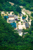 Aerial view of the Buddhist Sinheungsa Temple. Bird`s-eye aerial view of the Buddhist Sinheungsa Temple in Seoraksan National Park, South korea Stock Photo