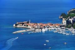Aerial view of Budva, Montenegro on Adriatic coast Stock Images