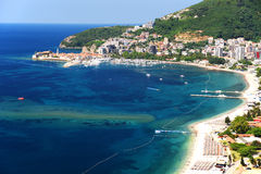 Aerial view of Budva, Montenegro on Adriatic coast.  Royalty Free Stock Photography