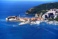 Aerial view of Budva, Montenegro on Adriatic coast Royalty Free Stock Images
