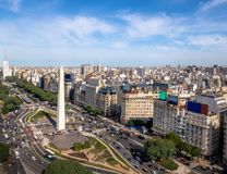 Aerial view of Buenos Aires city with Obelisk and 9 de julio avenue - Buenos Aires, Argentina. Aerial view of Buenos Aires city with Obelisk and 9 de julio Stock Photography