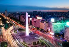 Aerial view of Buenos Aires city with Obelisk and 9 de julio avenue at night - Buenos Aires, Argentina. Aerial view of Buenos Aires city with Obelisk and 9 de Royalty Free Stock Photo