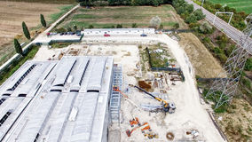 Aerial view of building construction site. Industrial environmen Royalty Free Stock Photo
